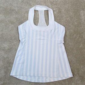 LULULEMON Gray White STRIPED Pilates YOGA Tank TOP
